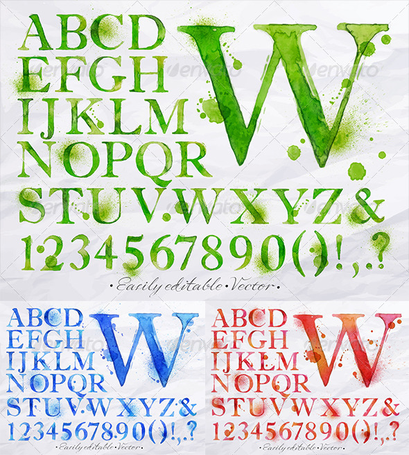 GraphicRiver Alphabet Watercolor 8517009