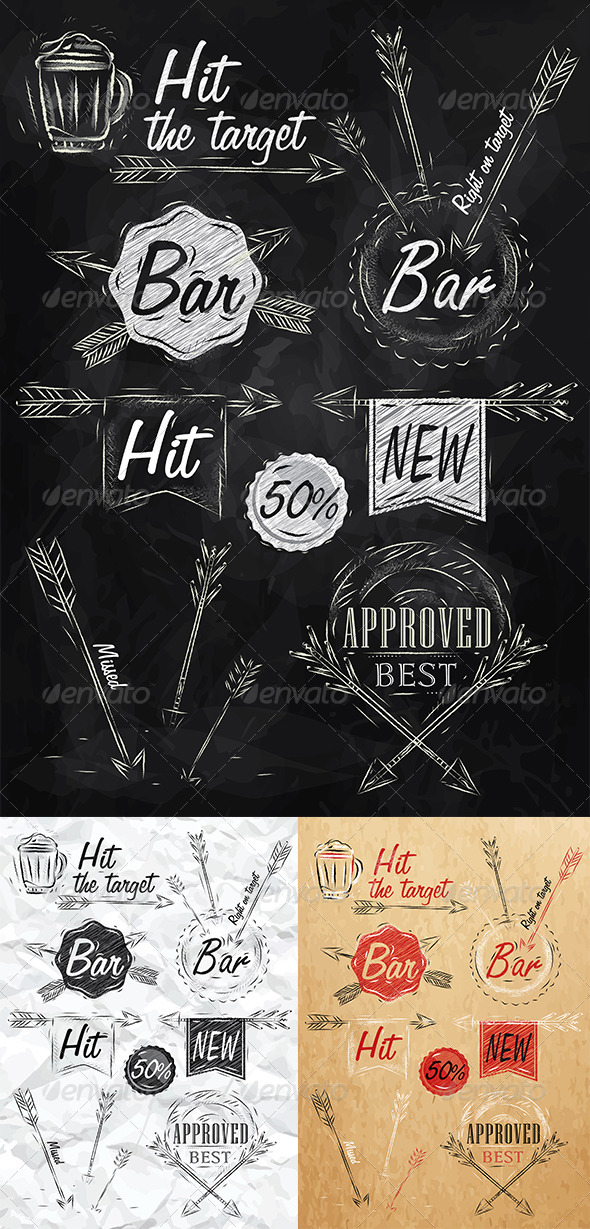 GraphicRiver Set Collection Emblem of Bar 8517010