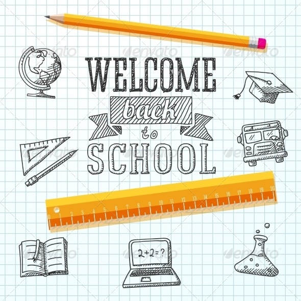 GraphicRiver Welcome Back to School Background 8517036