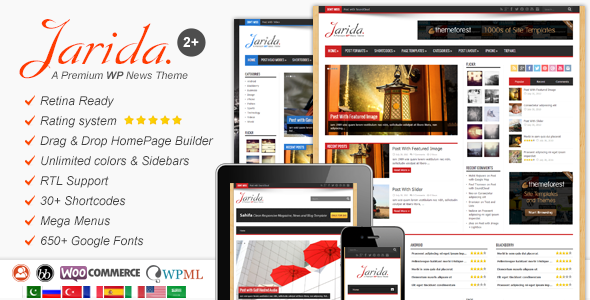 Jarida - Responsive WordPress News, Magazine, Blog - News / Editorial Blog / Magazine