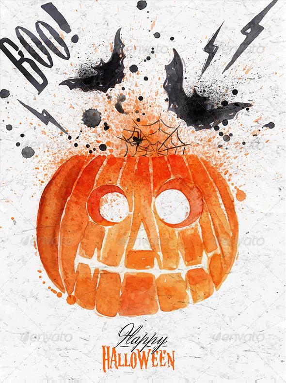 GraphicRiver Pumpkin Halloween Poster 8517088