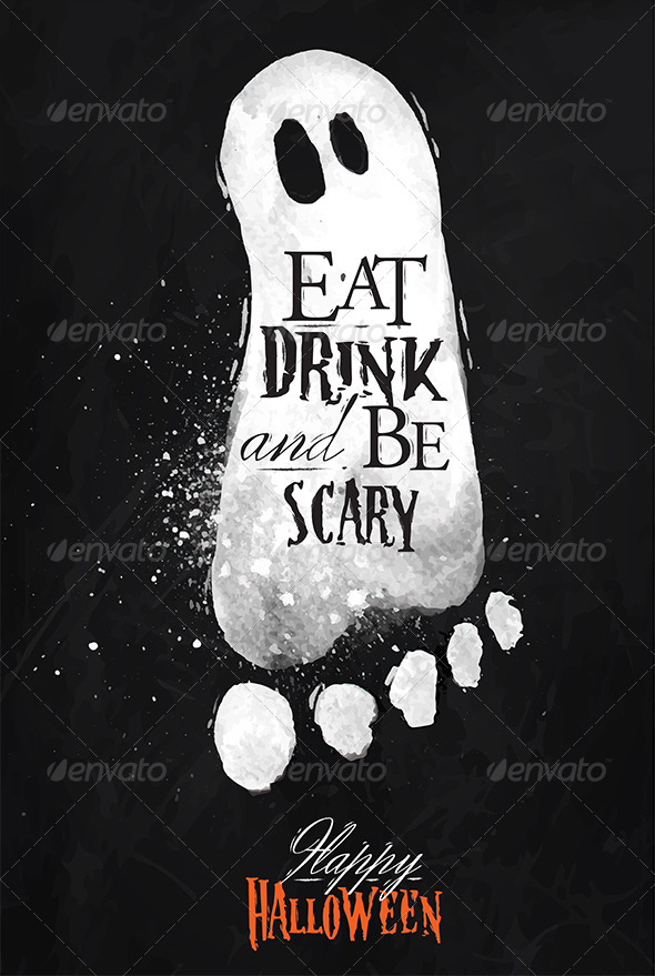 GraphicRiver Ghosts Halloween Poster Chalk 8517105