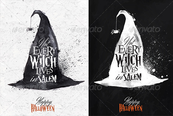 GraphicRiver Witch Hat Halloween Poster 8517119