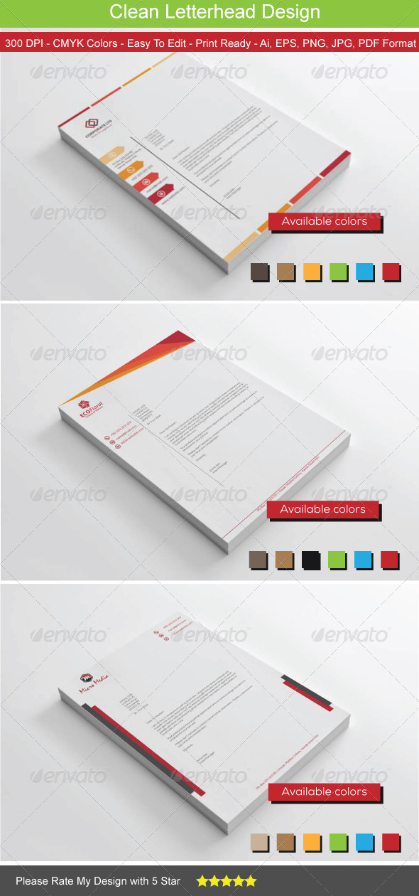 GraphicRiver Clean Colors Letterhead Bundle 8515983
