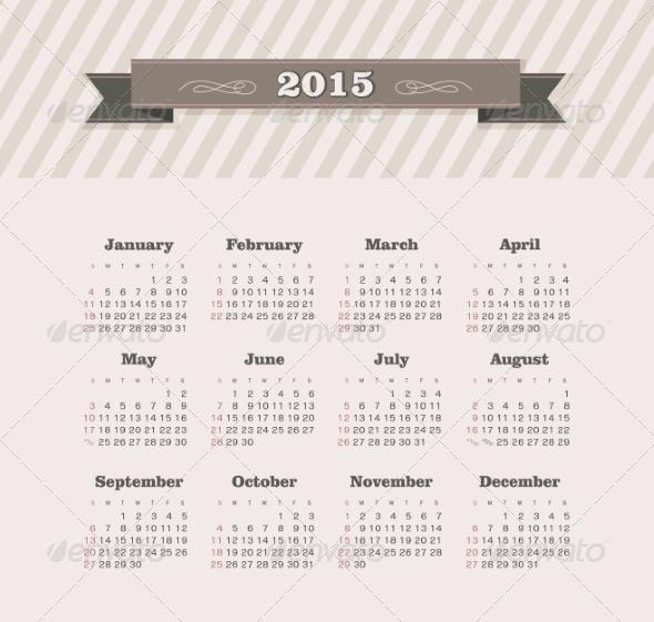 GraphicRiver Calendar 2015 Year 8517121