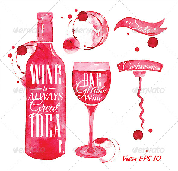 GraphicRiver Pointer Drawn Pour Wine 8517483