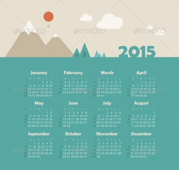 GraphicRiver Calendar 2015 Year with Mountain Landscape 8517492