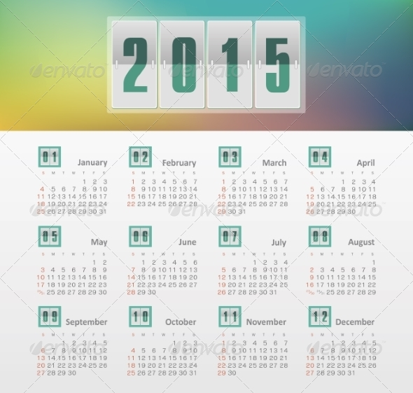 GraphicRiver Calendar 2015 Year with Gradient 8517565