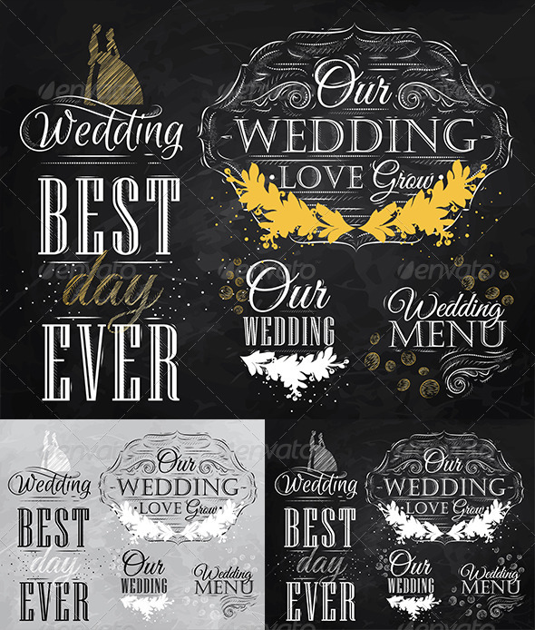 GraphicRiver Wedding Lettering Set 8517571