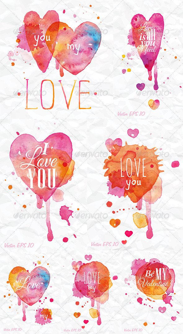 GraphicRiver Watercolor Valentines Day Heart 8517716