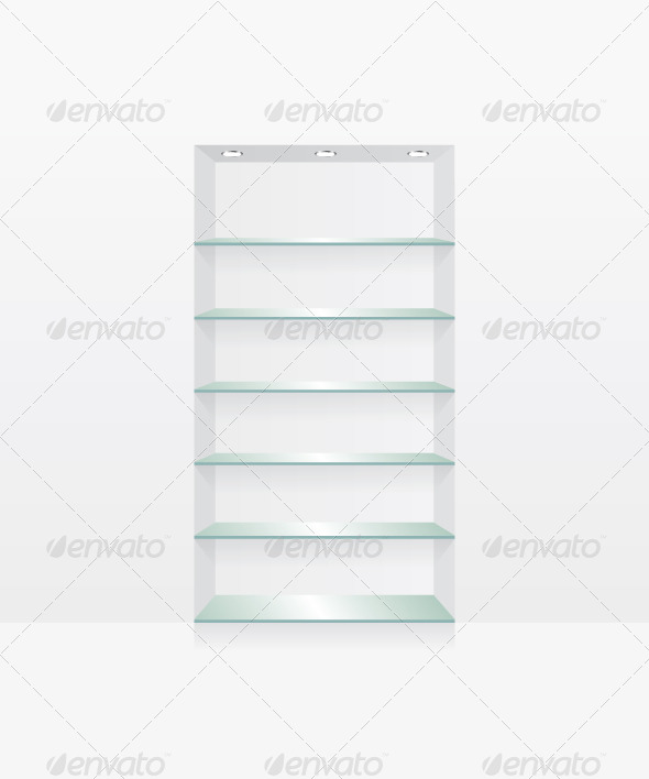 GraphicRiver Empty Glass Shelves on White Wall 8518155