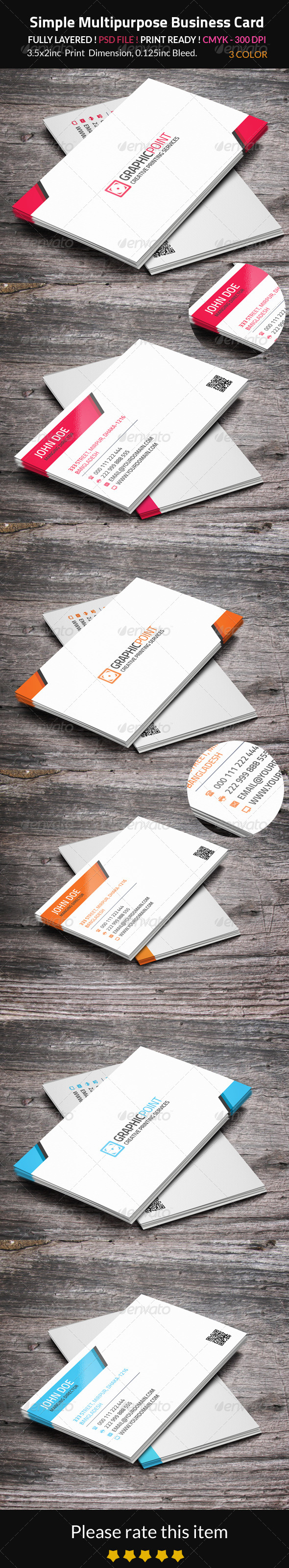 GraphicRiver Simple Multipurpose Business Card 8518291