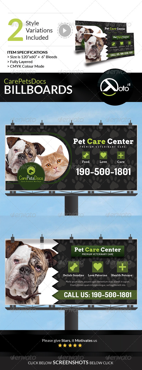 GraphicRiver Care Pets Docs Veterinary Billboard Signages 8518443