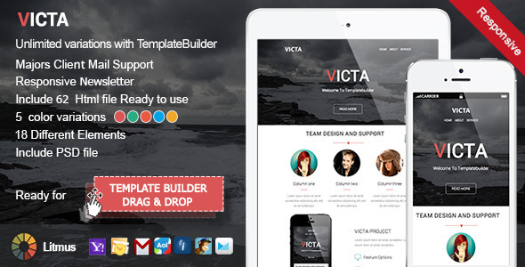 Victa Responsive Email + TemplateBuilder - Newsletters Email Templates