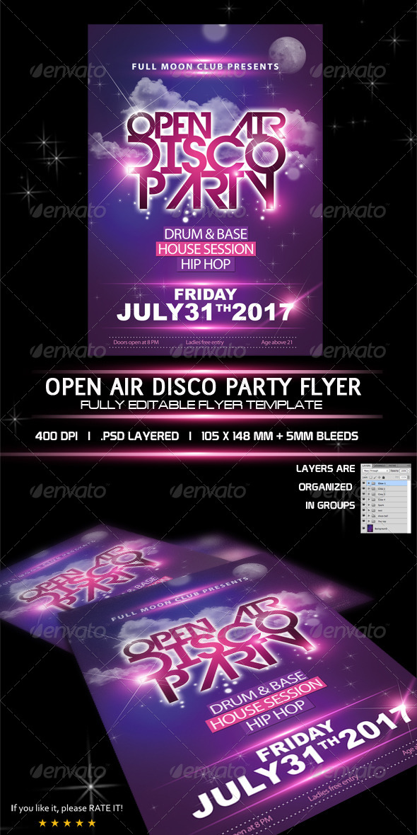 GraphicRiver Open Air Disco Party Flyer Template 8516846