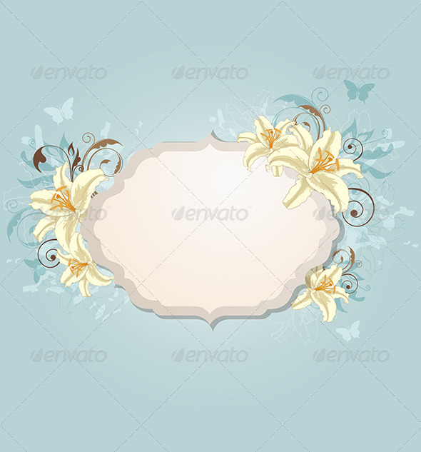GraphicRiver Background with Label and Flowers 8518764