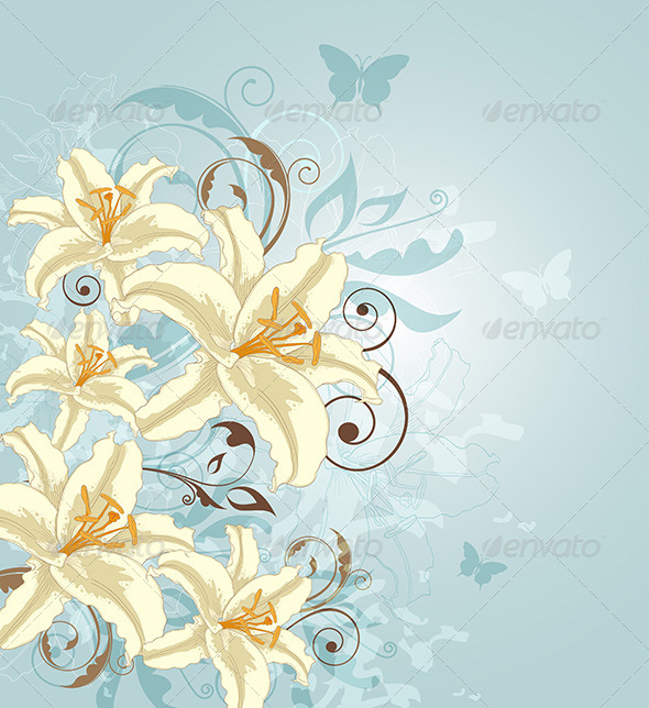 GraphicRiver Background with Flowers and Butterflies 8518774
