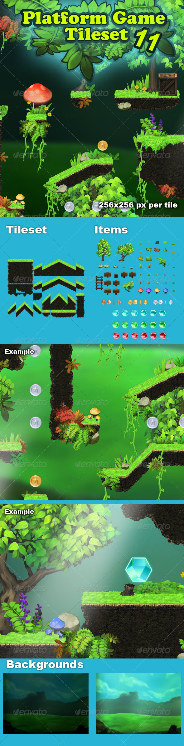 GraphicRiver Platform Game Tileset 11 HD Magic Forest 8518851