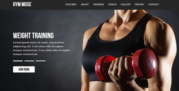 ThemeForest Gym Responsive Muse Template 8519025