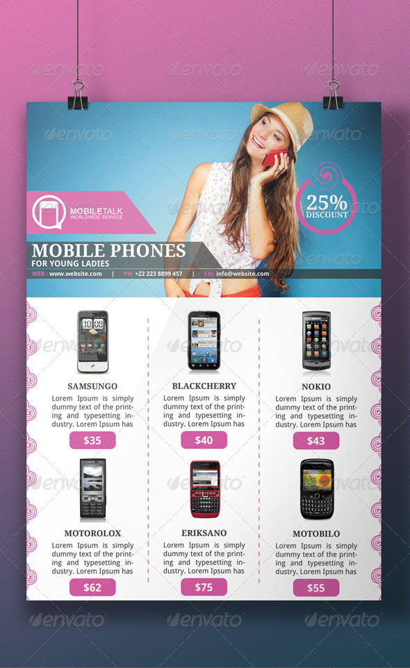cell phone flyer template by blogankids