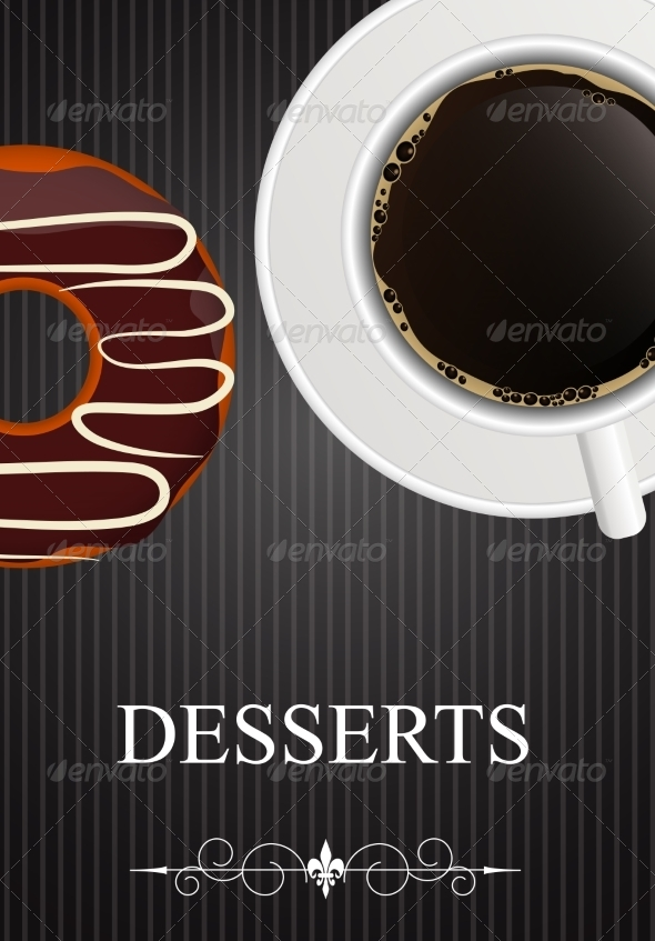 GraphicRiver Dessert Menu with Coffee and Donut 8519107