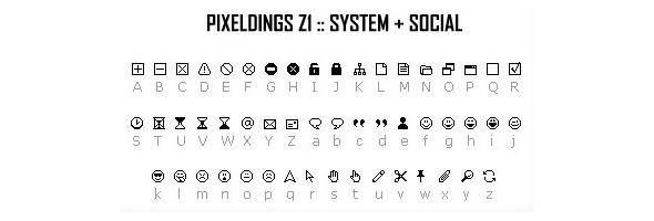 PIXELDINGS_Z1 :: system + social - Ding-bats Fonts