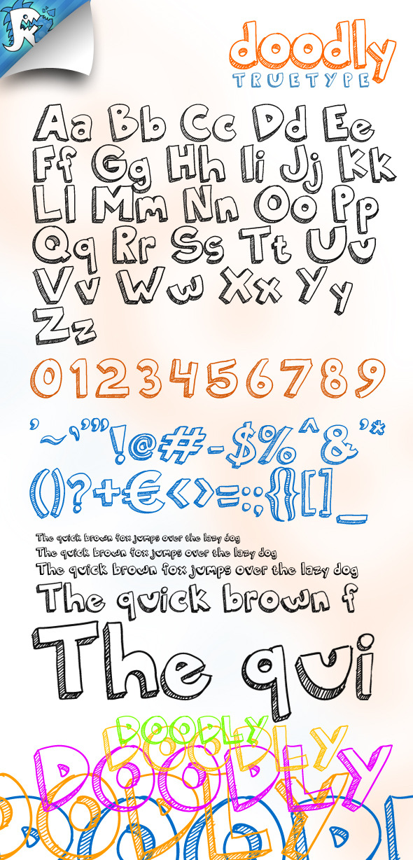 Doodly TrueType - Awesome doodle font - Sans-Serif Fonts
