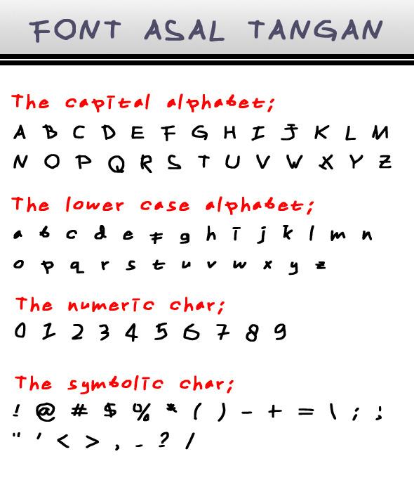 Font Asal Tangan - Hand-writing Script