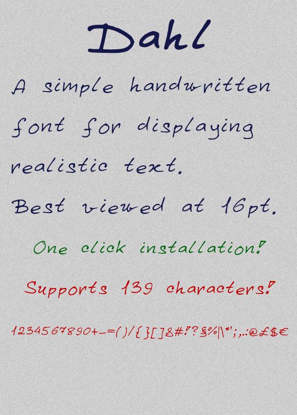 Dahl - Hand-writing Script
