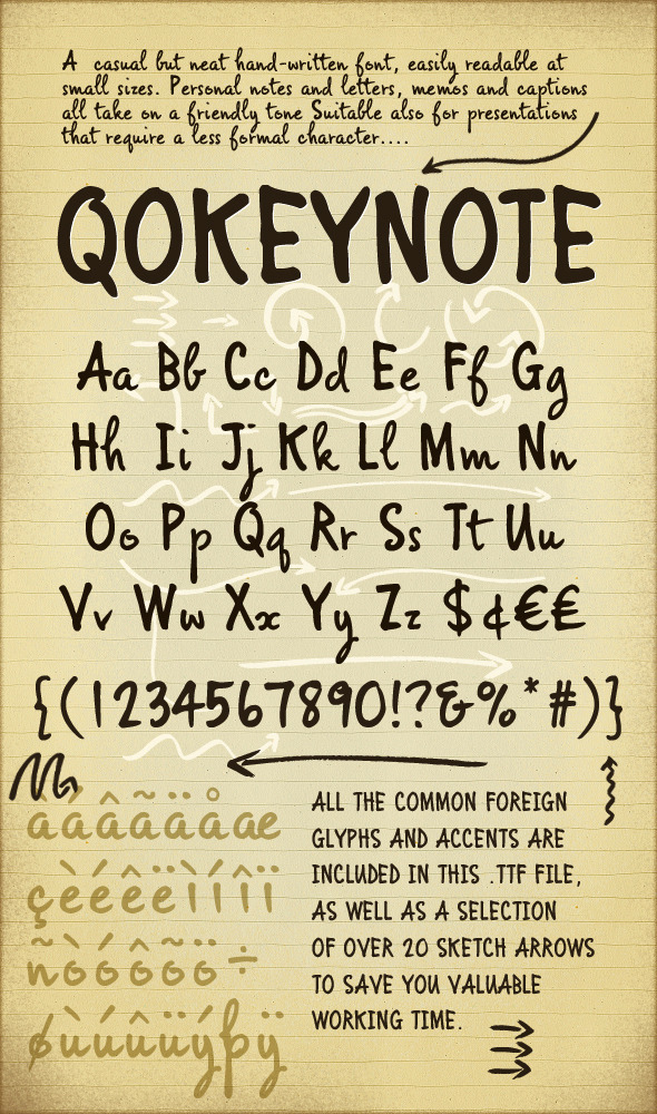 Qokeynote Handwritten Casual Lettering Font - Hand-writing Script