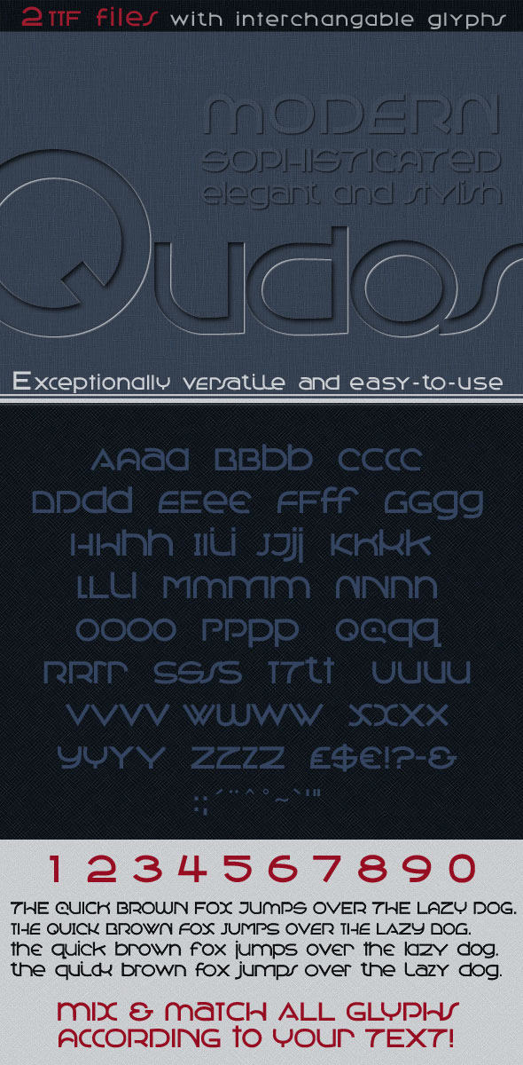 Qudos: Clean & Modern, Avant Garde Type  - Sans-Serif Fonts