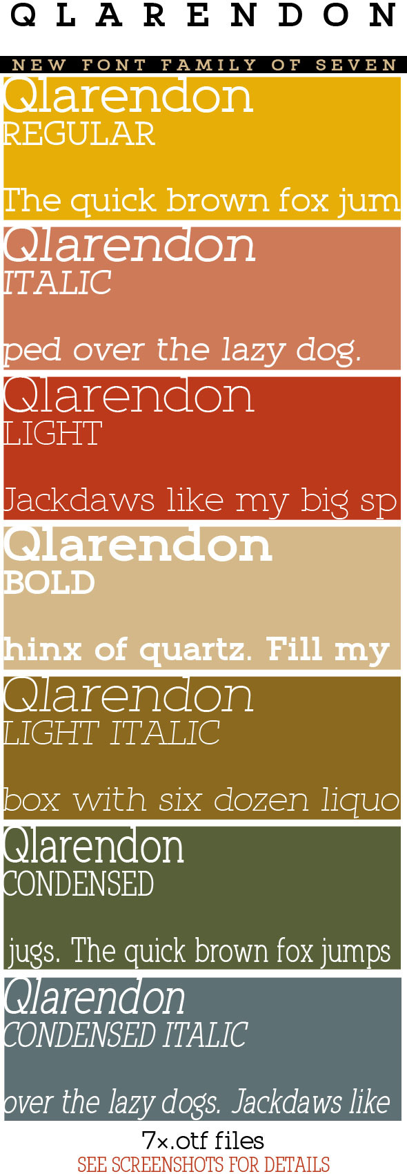 Qlarendon Font Family; Clean Modern Slab - Fonts