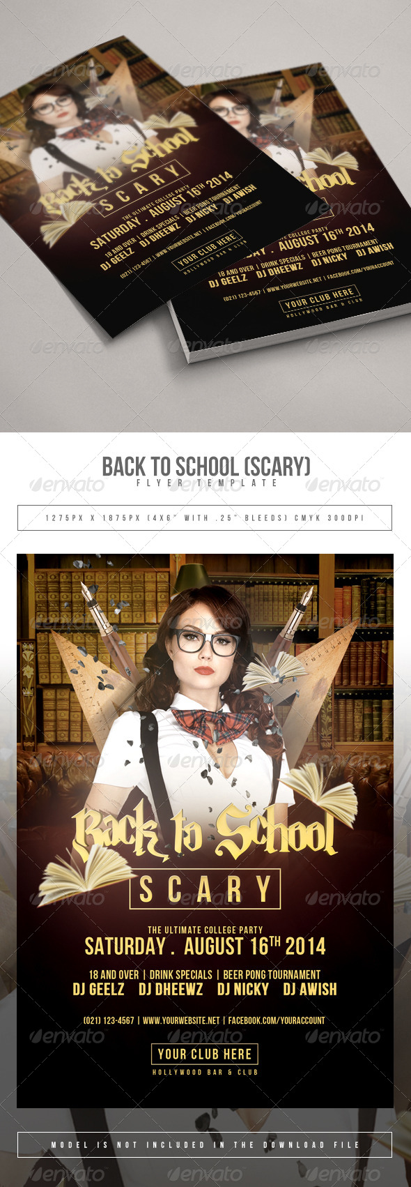 Back To School Scary Flyer Template - Clubs & Parties Events