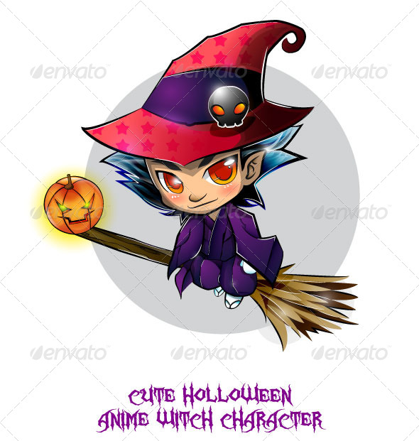 GraphicRiver Halloween Anime Witch 8519436
