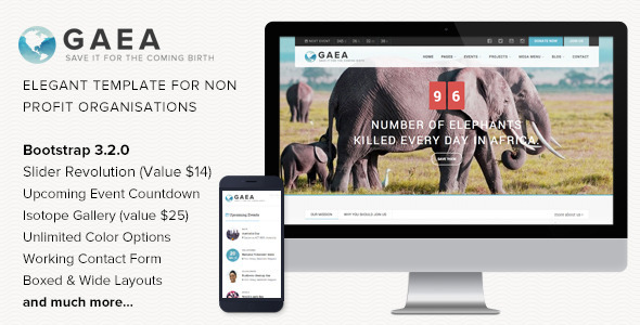 ThemeForest Gaea Responsive Environmental HTML5 Template 8490746