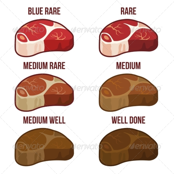 GraphicRiver Degrees of Steak Doneness Set 8520300