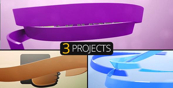 3D Ribbons Logo 3 Pack