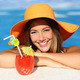 Beauty woman with perfect smile enjoying in a swimming pool on vacations - PhotoDune Item for Sale