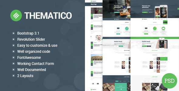 Thematico - Single Page HTML5 Template - Creative Site Templates