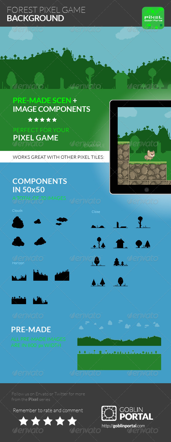 GraphicRiver Forest Pixel Game Background 8520612