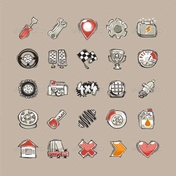 GraphicRiver Doodle Cars Icons Set 8520711
