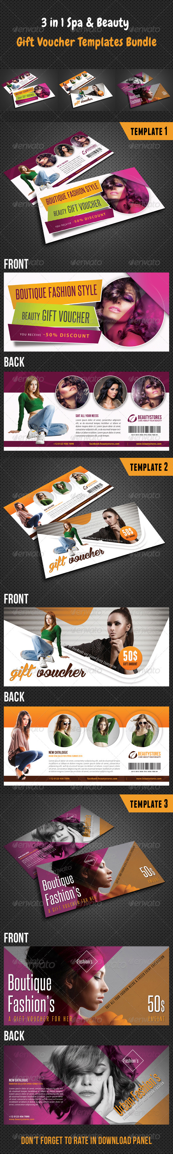 GraphicRiver 3 in 1 Beauty and Spa Gift Voucher Bundle 02 8520953