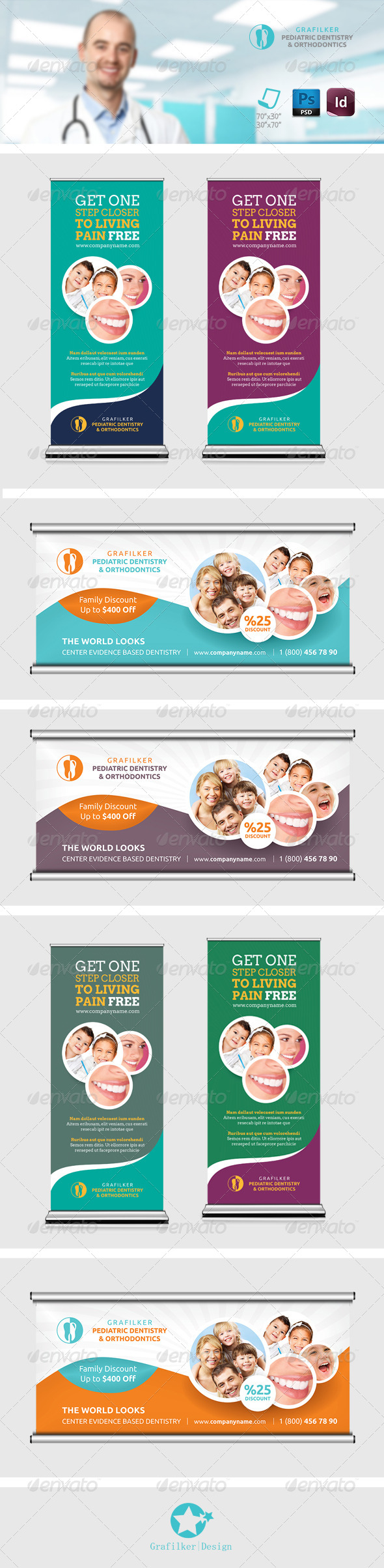 GraphicRiver Dentist Billboard Roll-Up Templates 8521095