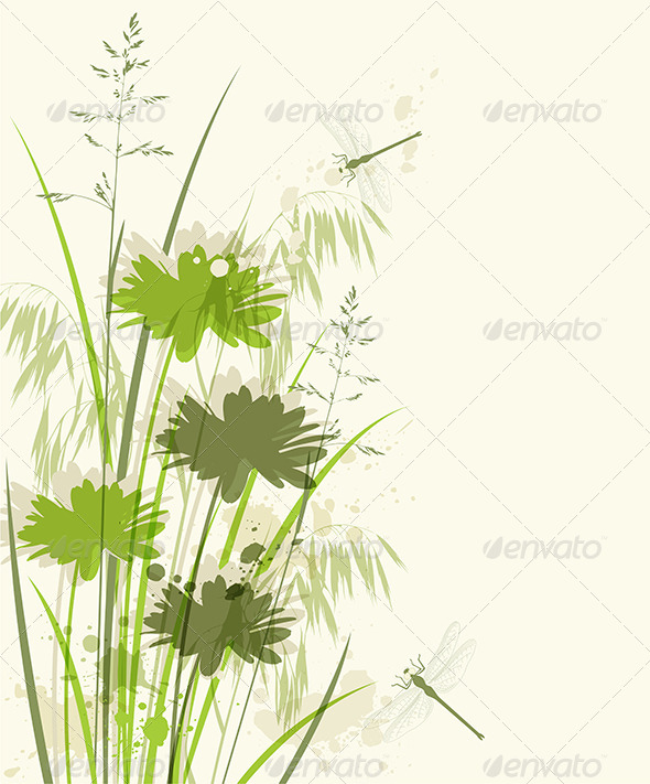 GraphicRiver Decorative Green Floral Background 8521137