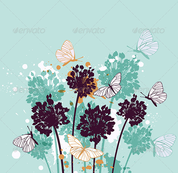 GraphicRiver Background with Butterflies and Wildflowers 8521151