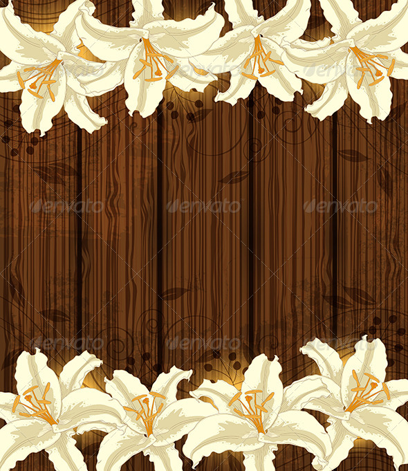 GraphicRiver Wooden Background with White Flowers 8521159