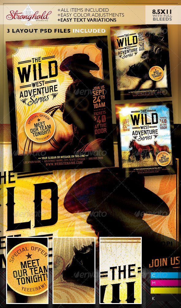GraphicRiver Wild West Flyer Template Set 8521167