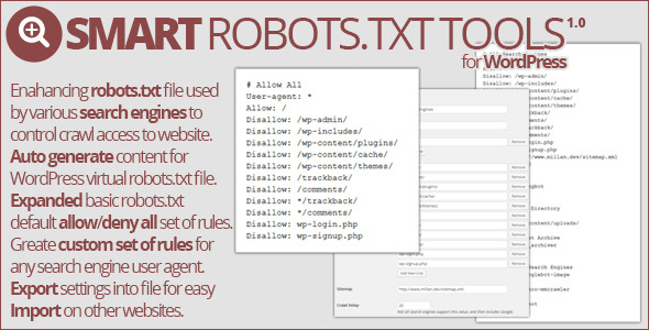 Smart Robots.txt Tools allows you to improve and customize 'robots.txt' file used by search engines and other types of bots when indexing your websi
