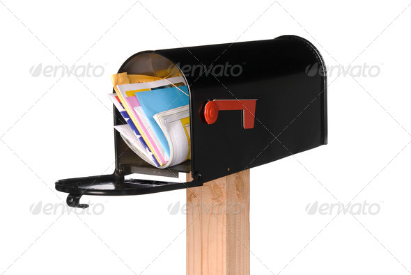 Stock Photo - PhotoDune Isolated open mail box with mail 882521