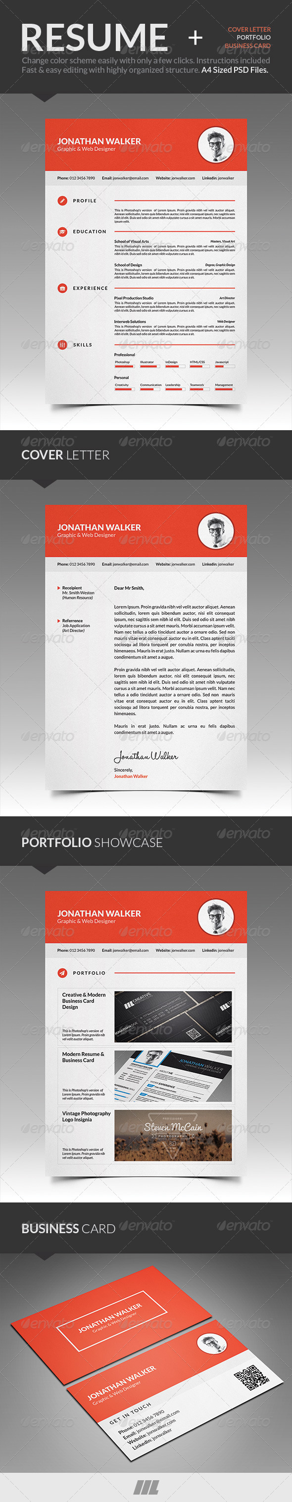 GraphicRiver Clean Resume With Business Card 8521281